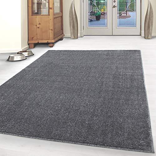 HomebyHome Einfarbig Moderner Kurzflor Guenstige Teppich Uni Grau meliert Wohnzimmer, Schlafzimmer, Diele, Küche, Größe:200x290 cm