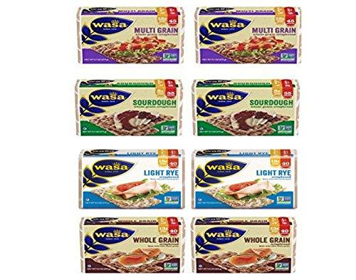Wasa Crispbread Variety 8-Pack: (2) Multi Grain, (2) Whole Grain, (2) Hearty Rye & (2) Sourdough (2 of each)