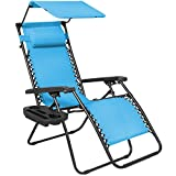 Best Choice Products Folding Steel Mesh Zero Gravity Recliner Lounge Chair w/Adjustable Canopy Shade and Cup Holder Accessory Tray, Light Blue