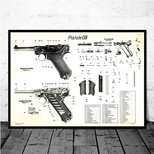 Impresión De La Lona Gun Blueprint Luger Pistol Patent Chart Póster Moderno Cuadro De Arte De Pared Pintura En Lienzo Para La Decoración Del Hogar De La Habitación, Como Se Muestra, 50X70Cm Sin