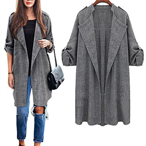 WuyiMC Plus Size Trench, Womens Open Front Coat Long Cloak Jackets Overcoat Waterfall Cardigan M-5XL (M, Grey)