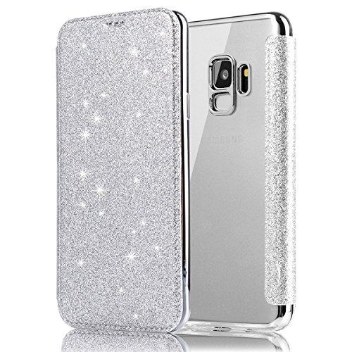 Ysimee Compatible avec Coque Samsung Galaxy S9 Plus Glitter Bling Étui en Cuir Portefeuille Flip Case Fermeture Aimantée Wallet Pouch Protection Housse avec Carte de Crédit et Fonction Support,Argent