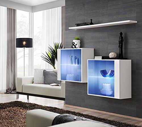 elbectrade Vidal Composizione Due vetrine con Una mensola per Sala Soggiorno. Vetrinette Compresa Illuminazione a LED