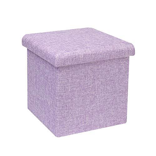 Bonlife Pouf Hocker Kiste mit Deckel Sitztruhe Schlafzimmer Möbel Faltbare Truhe Truhe Aufbewahrung Maximale Belastung 150kg 30cm Hell-Lila