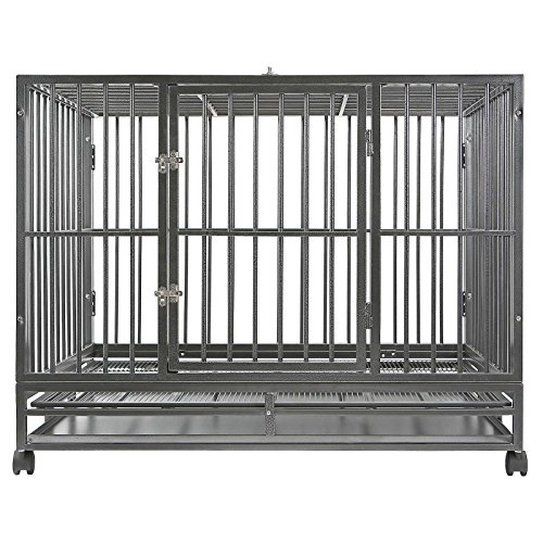 "SmithBuilt 36"" Medium Heavy-Duty Dog Crate Cage - Two-Door Indoor Outdoor Pet & Animal Kennel with Tray - Silver"