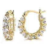 14K Gold Plated 925 Sterling Silver Post Cubic Zirconia Hoop Earrings for Women Elegant Gift Box Packaging …