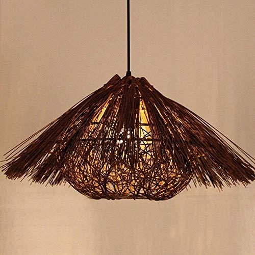 GYC Araña de Techo Iluminación de Pantalla 50Cm Mano Bambú Mimbre Ratán Calabaza Sombra Lámpara Colgante Lámpara de Techo de suspensión de Campo Mesa de Comedor Sala E27