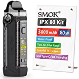 SMOK IPX80 E Cigarette Vape Starter Kit, 80W 3000mAh, Waterproof   Dust & Shock Proof, Airflow Control Vaping, Colorful TFT Display, USB Type-C Fast Charging, 2ml No Nicotine (Black Carbon Fiber)