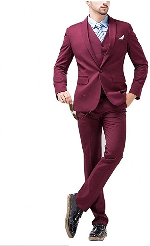 Botong Burgundy Slim Fit 3 Pieces Men Suits Wedding Suits Groomsmen Suit