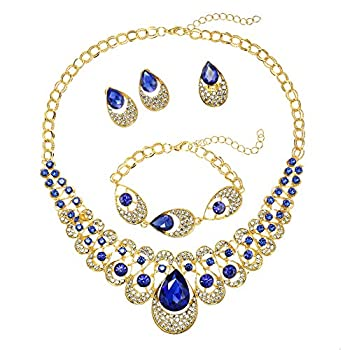 MOOCHI 18K Gold Plated Blue Water Drop Rhinestone Pendant Necklace Bracelet Earrings Ring Jewelry Set for Women Wedding Costume Engagement Statement Accessories