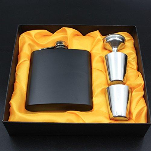 Petaca de acero inoxidable con grabado láser personalizable para cumpleaños, boda, aniversario, regalo personalizado Black Set