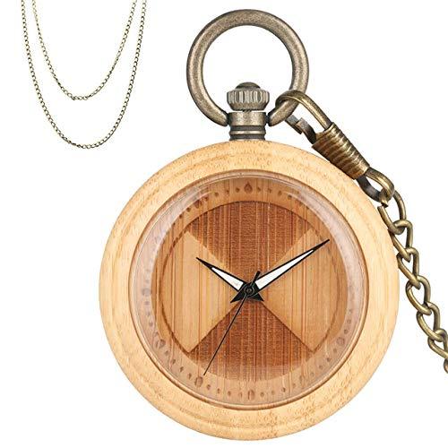 CAIDAI&YL Reloj de bolsillo de cuarzo de madera de bambú de diseño sector grabado creativo caja de madera colgante bronce cadenas de llavero 2019,A