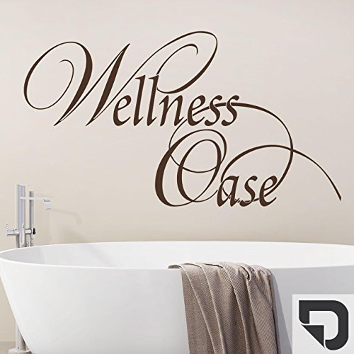DESIGNSCAPE® Wandtattoo Wellness Oase verschnörkelt | Dekoratives Wandtattoo Bad Sauna 60 x 34 cm (Breite x Höhe) dunkelgrau DW803446-S-F7