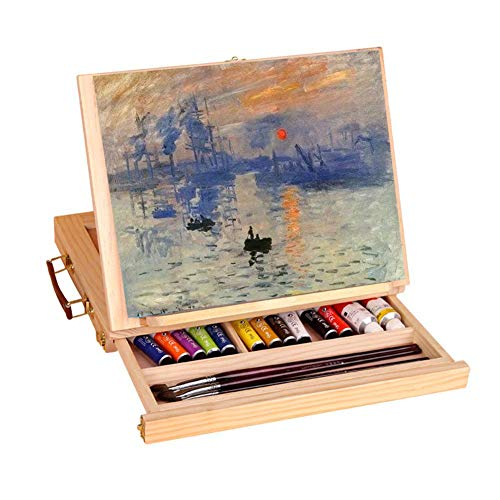 Display Artist Easel Adjustable Wood Desk Table Easel with Storage Drawer, Paint Palette, Premium Pine - Portable Wooden Artist Desktop, Board for Canvas, Painting, Drawing Sketching Book Stand