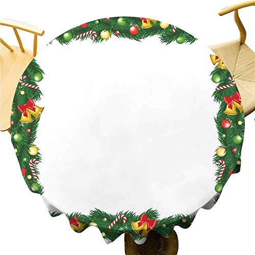 New Year Tablecloth - 54 Inch Round Tablecloth Lightweight Xmas Themed Garland with Candy Canes Ribbons Colorful Baubles and Bells Winter Single-Sided Printing Multicolor