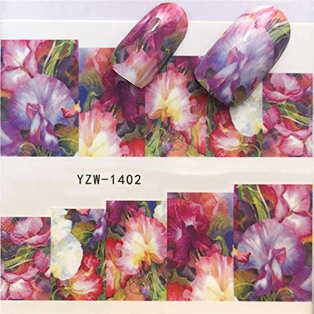 ビューティー&パーソナルケア 3個ネイルステッカーセットデカール水転写スライダーネイルアートデコレーション、色:YZW 1402 ステッカー&デカール