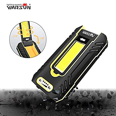 WARSUN Portable LED Rechargeable Work Light,Waterproof Inspection led Work Light, 500Lumens Super Bright, 5000K, for Car Repairing, Camping, Hiking, Backpacking, Fishing, Hurricane, Yellow
