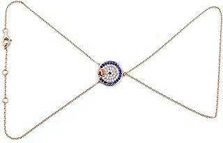 Rose Gold Over Sterling Silver, Cubic Zirconia Evil Eye, Hamsa Hand Slave Bracelet, Ring-To-Wrist