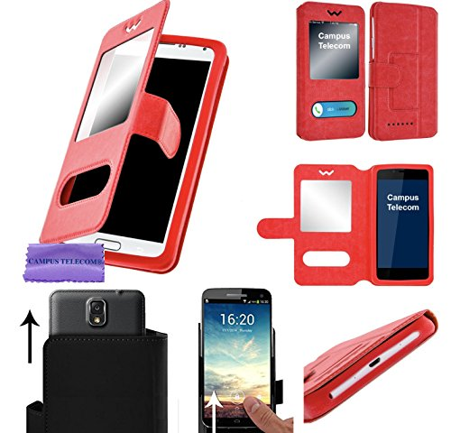 CAMPUS TELECOM Etui Pochette Coque Housse Portefeuille Universel Rouge Red avec Support Video pour ALTICE SFR SX41 S41 (5'' Pouces)