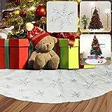 vLoveLife falda de árbol de Navidad blanca, 90 cm, falda de árbol de Navidad, tela de felpa con lentejuelas doradas copo de nieve para decoración de Navidad, Tejido de felpa, blanco y plateado