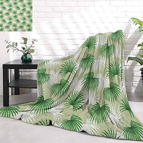 Blatt, tropisches Blatt der Palme Livistona Rotundifolia IslJungle Laub, grün hellgrün weißes Licht bequeme Bettdecke 60 'x50'