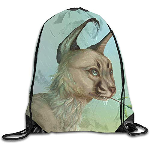Dingjiakemao Outdoor String Tasche,Böker Caracal Cat Charm Art Kordelzug Stilvolle Süße Print Lightweight Sackpack Sport Gym Bundle Rucksack Thema Neuheit Outdoor Classic
