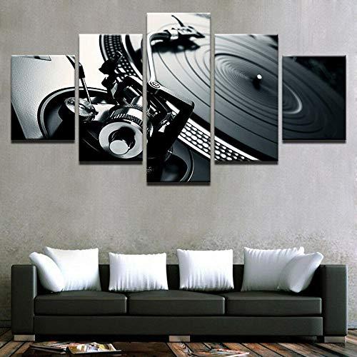 GHYTR Imagen sobre Lienzo Cuadros Abstractos Modernos XXL Poster 5 Piezas Consola De Música DJ Mixer Spinning Arte De Pared Imágenes Modulares Sala De Estar Decoración para El Hogar 150X80Cm