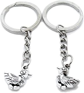 Metal Antique Silver Plated Keychains Keyrings Keytag YK105 Duck Quack Key Chain Ring