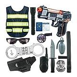 Volwco 13 Piezas Kit De Juguete De rol Policial para Niños, Disfraz De Policía con Chalecos Reflectantes, Pistola De Juguete Y Otros Accesorios para Juegos De Simulación, Disfraces De Halloween