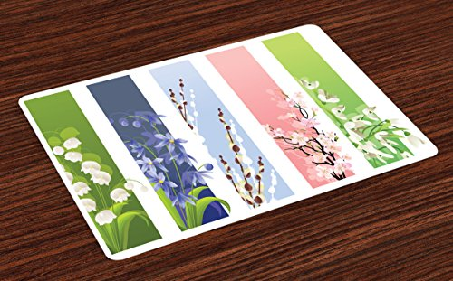Ambesonne Flower Place Mats Set of 4, Spring Flowers on Different Backgrounds Lily Blossoms Valley Primrose Floral Print, Washable Fabric Placemats for Dining Room Kitchen Table Decor, Multicolor