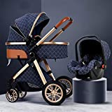 GSJZ 3 in 1 Baby Stroller Carriage Foldable Luxury Pushchair Stroller Shock Absorption Springs High View Pram Baby Stroller with Mommy Bag and Rain Cover (Blue)
