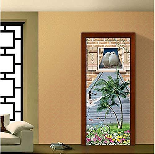 Pigeon Coconut Tree Roads Frame koelkastdeur sticker vc zelfklevend behang koelkast afdekking raamfolie 77 x 200 cm