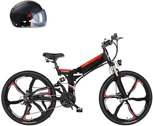 ZJZ Bicicleta eléctrica 26 '' Adultos Bicicleta eléctrica/Bicicleta eléctrica de montaña, Bicicleta 25KM / H con batería extraíble 10Ah 480WH, Engranajes Profesionales de 21 velocidades, Negro
