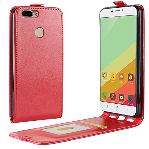 HualuBro Oukitel U20 Plus Hülle, Premium PU Leder Leather HandyHülle Tasche Schutzhülle Flip Hülle Cover für Oukitel U20 Plus Smartphone (Rot)