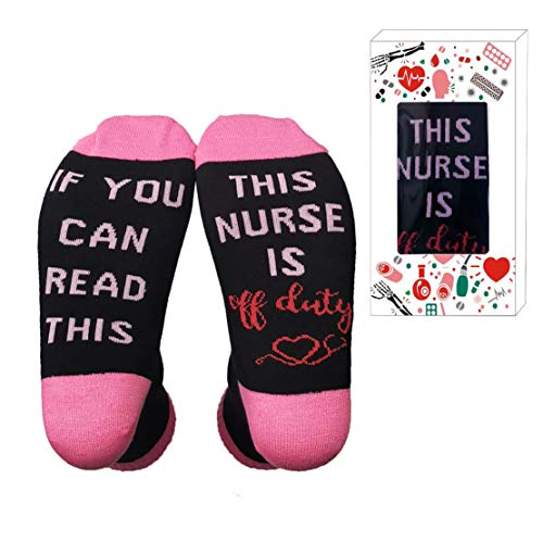 If You Can Read This Nurse Is Off Duty Unisex Funky Crew Socks White Angels Gift for Holiday(Nurse Pink)