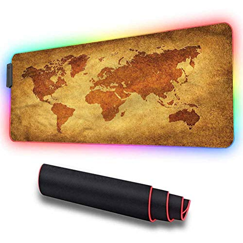 Gaming Mouse Pad, World Map,Antique Historic Earth, Extended RGB Mouse Pad Ideal for Quicker Mouse Movements - Non-Slip Rubber Base, 31.5 x 11.8in