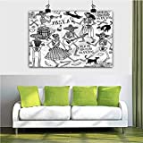 ParadiseDecor Mexican Christmas Wall Art Dancing Skeletons 24x36 Inch Prints Contemporary Canvas Artwork