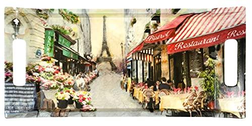 Lashuma Bandeja de melamina, 41 x 19 cm, bandeja de postre con asas, bandeja decorativa multicolor, diseño de París