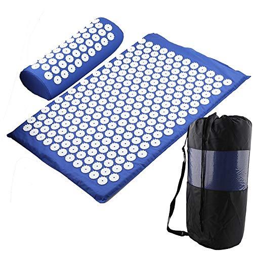 HONGGE Massager Cojín Masaje Yoga Mat Acupressure Aliviar el estrés Barrio Cuerpo Dolor Spike Mat Mat Acupuntura Mat (Color : D Blue Set with Bag)