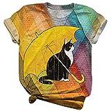 Camiseta de Moda de Verano Personalidad de Las Mujeres Europeas y Americanas Dibujos Animados Animal Print Cómodo Cuello Redondo TopX-Large