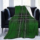 Manta De Felpa De Franela, Cuadros Verdes 150X125 Cm, Microfibra Ultra Suave Y Ligera con Estampado De Flores para Sofá