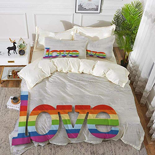 Bettwäsche - Bettbezug-Set, Pride-Dekorationen, Regenbogenfarben L.Ove Sign on Wood LGBT Homosexualität Gemeinschaftskultur, hypoallergene Mikrofaser-Bettbezug-Set mit 2 Kissenbezügen 50 x 75 cm
