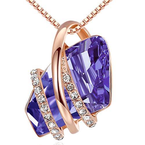 Leafael Wish Stone - Collar con dije, chapado en oro rosa de 18 quilates, con piedra natal de vidrio, 46 cm + 5 cm Morado
