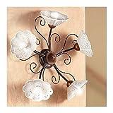Wandleuchte wand-lampe mit 5 led-leuchten, perforiertes und gewelltes schmiedeeisen-stil, vintage und country – Ø 60 cm