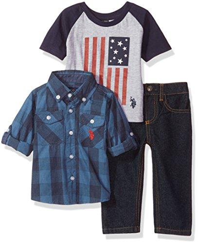 U.S. Polo Assn. Baby Boys' Sport Shirt, Creeper and Pant Set, 0700-Multi Plaid, 12M