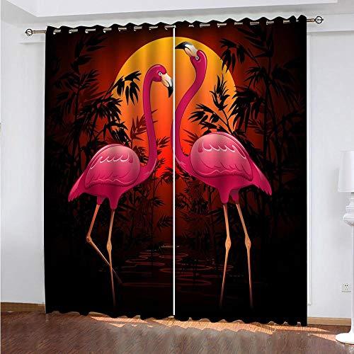 DRFQSK Cortinas Termicas Aislantes Frio Y Calor para Dormitorio Salon Modernas Cortinas Opacas 3D Flamenco Rosado De Luna Llena Patrón con Ojales 2 Piezas 140 X 260 Cm Decoración Ventana para Hogar