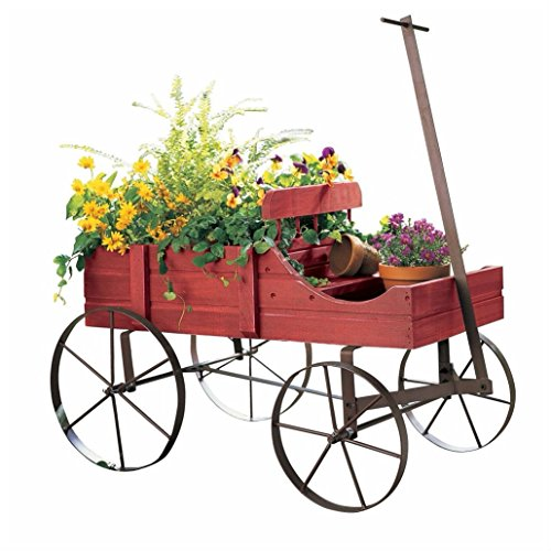 Unbranded Garden Planter Wood Green Amish Wheeled Yard Decor Indoor Outdoor Flowers Wagon (Country RED)