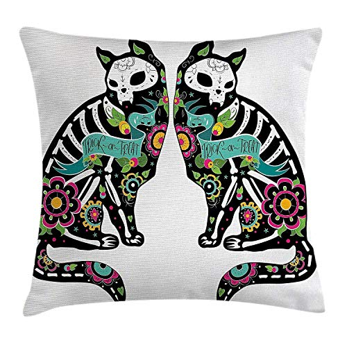 Jupsero Fundas de Almohada Day The Dead Decor Throw Pillow Cojín, Skeleton Cats Celebración Festiva Impresión de Arte español, Funda de cojín Decorativa Funda de Almohada Sofá 18' x 18 ', Ne