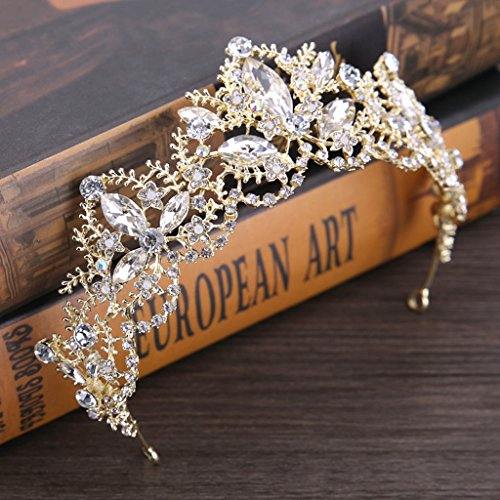 slowsilent Baroque Princess Tiaras Wedding Crown Bride Bridesmaid Tiara Hair Decor Accessory