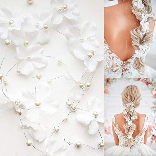 Dalina Bride Wedding Hair Vine Accessory Flower Hair Piece Bridal Headpiece For Bride(120cm / 47 inches) – Set Of 2…